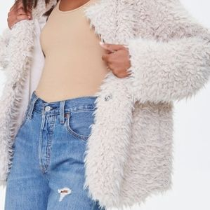 Forever 21 Womens Shaggy Faux Fur Jacket Pink Pockets Long Sleeve Lined L New